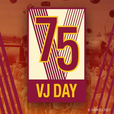 a logo displaying 75 VJ Day