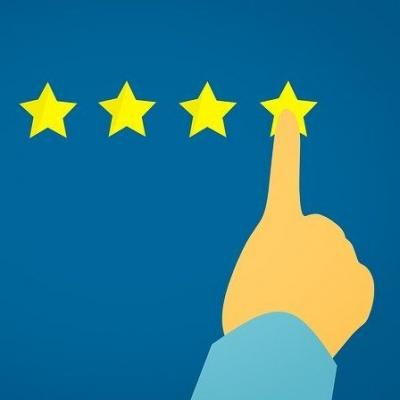 a graphic showing a finger selecting a four star rating. You can click, tap or press enter to start the survey linked to this article