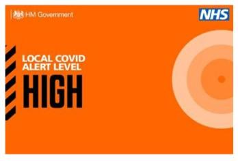 a logo with wording saying local covid alert very high