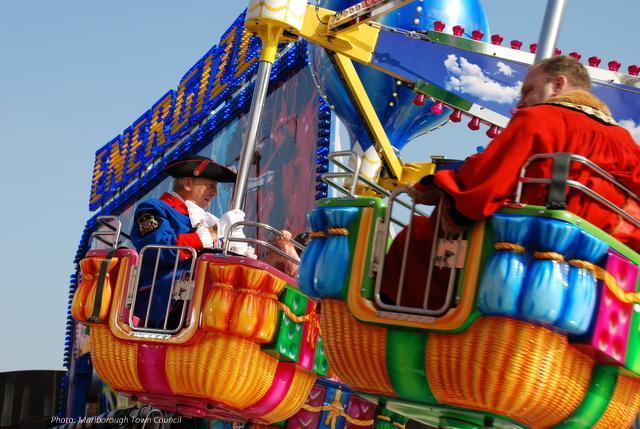 A fairground ride is in progress