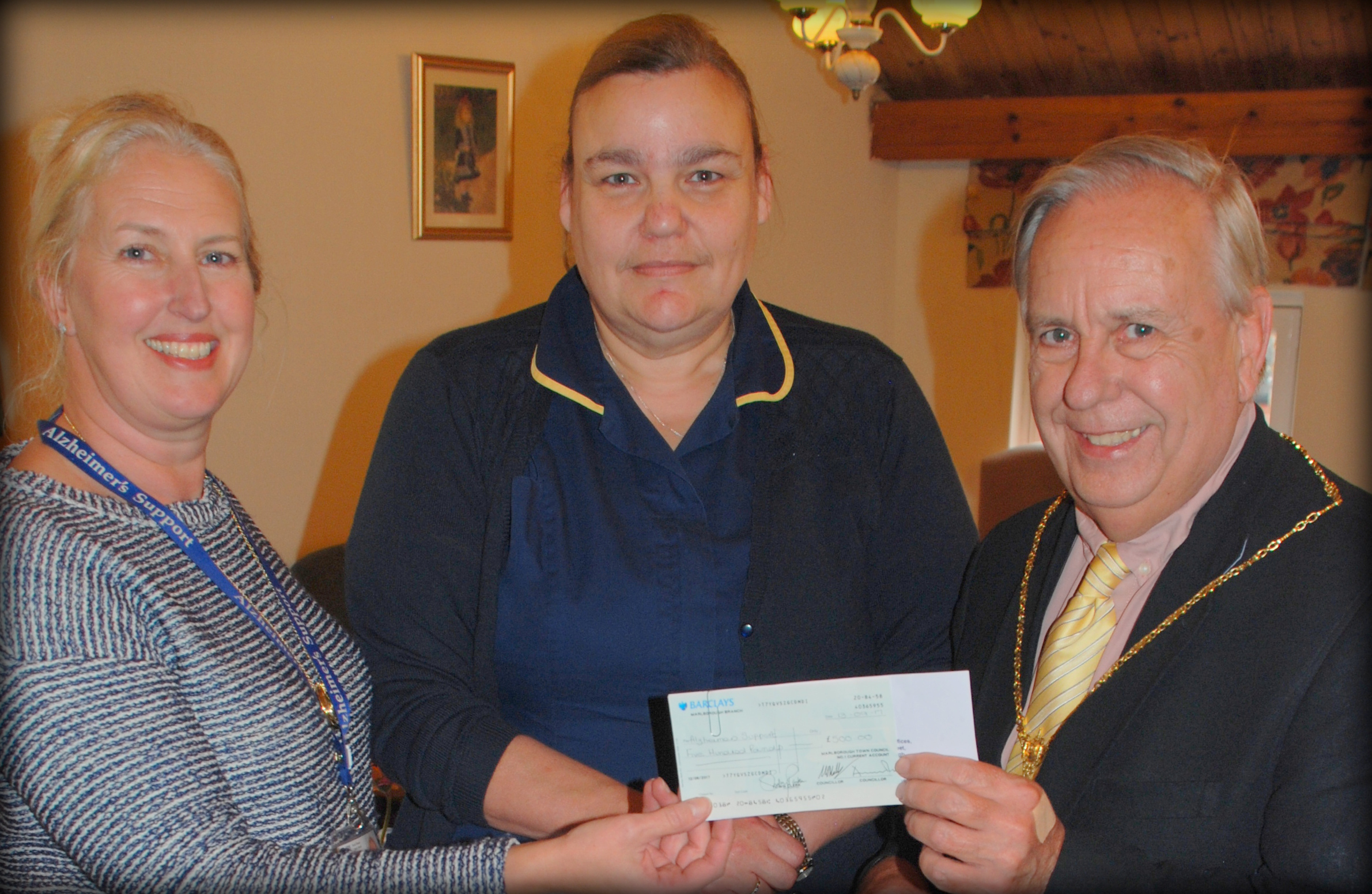 Cheque for Alzheimer's Support Drop-in Sessions