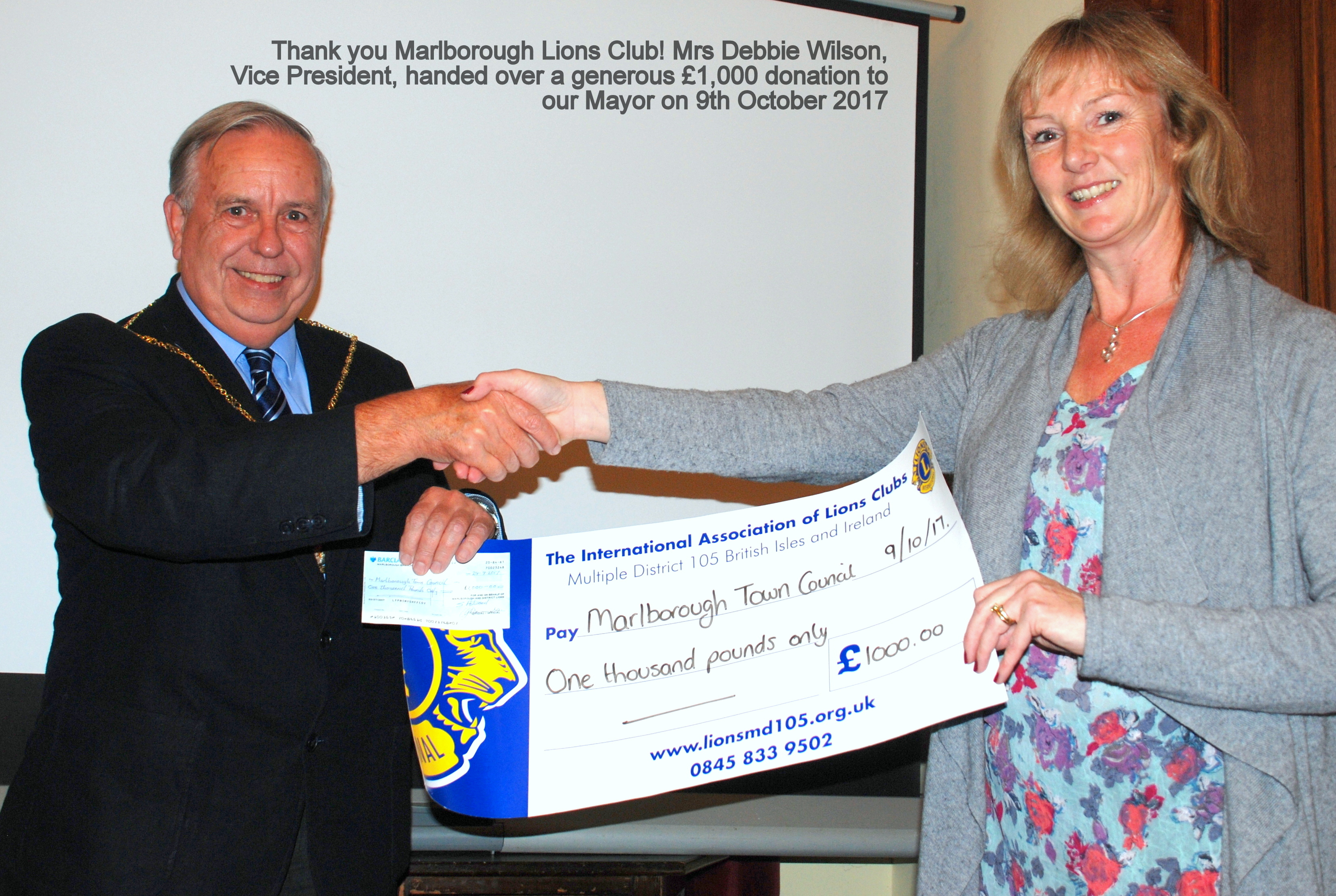 Lions Club cheque